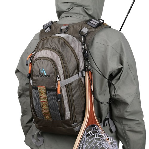 Fly Fishing Vest & Backpack Outdoor sports Adjustable Belt with Landing Net Release