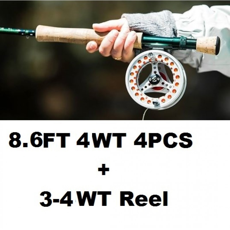 8.6FT 4WT 4PCS+3-4WT Reel +$1.00