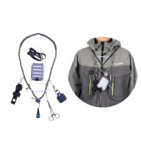 Hand Woven Fly Fishing Lanyard Braided Necklace with Fly Box & Streamside Accessories Fly Fishing Tools Kit