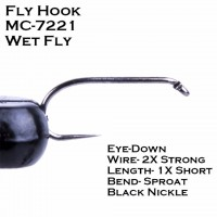 Fly Tying Hook Fish-Friendly Barbless Wet Fly 10#/12#/14# MC-7221 High Grade Carbon Steel 100Pcs Fly Hook