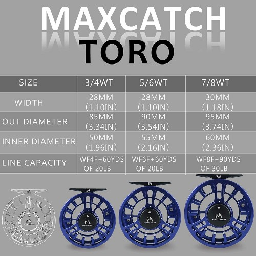 95mm 7//8 CNC Machined Aluminum Fly Fishing Reel Right Left Handed Large Arbor