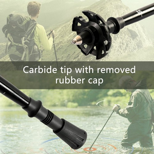 Aluminum/Carbon Fiber Wading Staff Collapsible Fishing Stick Hiking Fishing Accessory