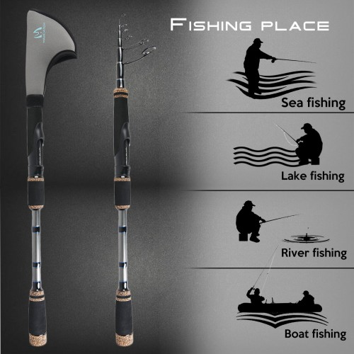 Travel Spinning Fishing Rods 6'8''/ 7'/ 8'/ 9' Telescopic Fishing Pole